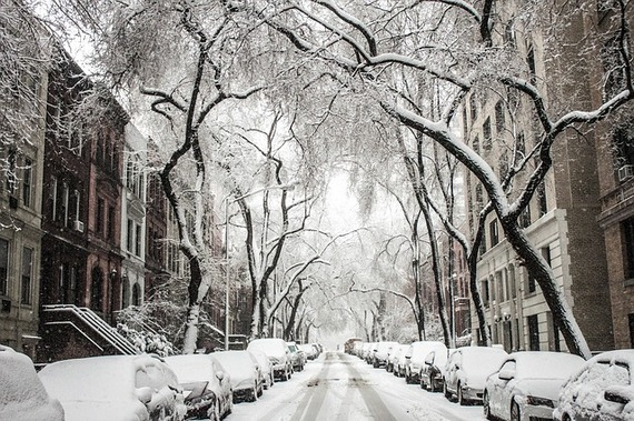 A snowy New York street.
